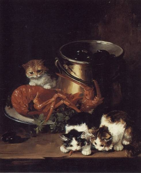 Kittens with Mussels and a Lobster